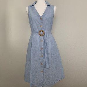 Mango Belted Linen Dress